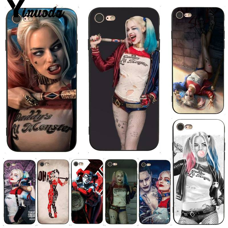 Yinuoda For iphone 7 6 X Case Harley Quinn Suicide Squad Joker Wink Painted Phone Case for iPhone X  8 7 6 6S Plus X 5 5S SE 5C