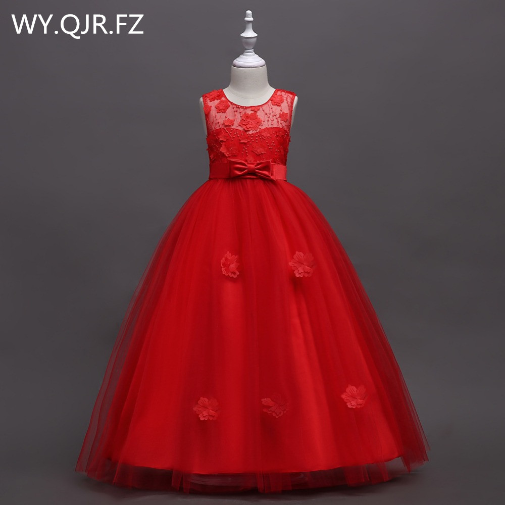 BH591#Red blue Bubble skirt Princess performance   Flower     Girl     Dresses   long wedding party prom   dress   wholesale children's clothes