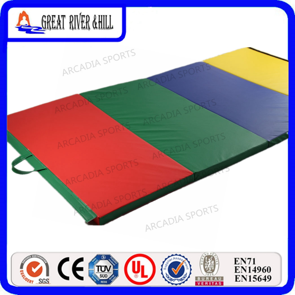 Exercise Mat with Carrying Handles Gymnastic Mat Gym Fitness 2.4mx1.2mx5cm gymnastics mat thick four folding panel fitness exercise 2 4mx1 2mx3cm