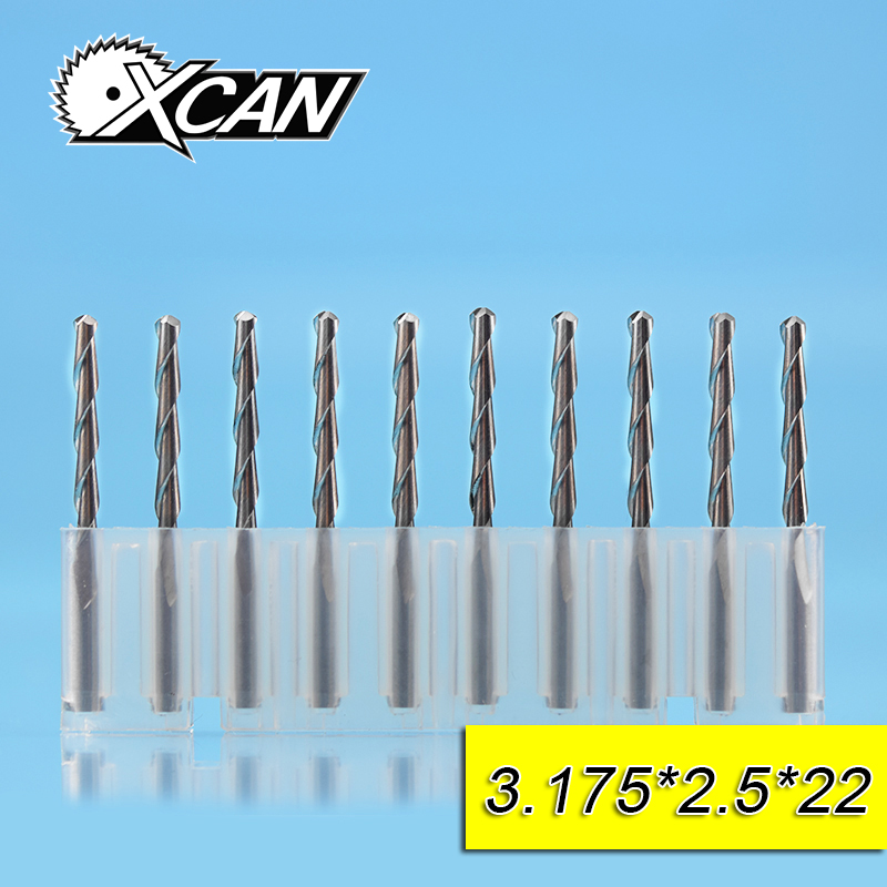 XCAN 10pcs 2.5mm ball nose end mills with 12/15/17/22mm cutting length CNC milling cutter 3.175 shank power tools