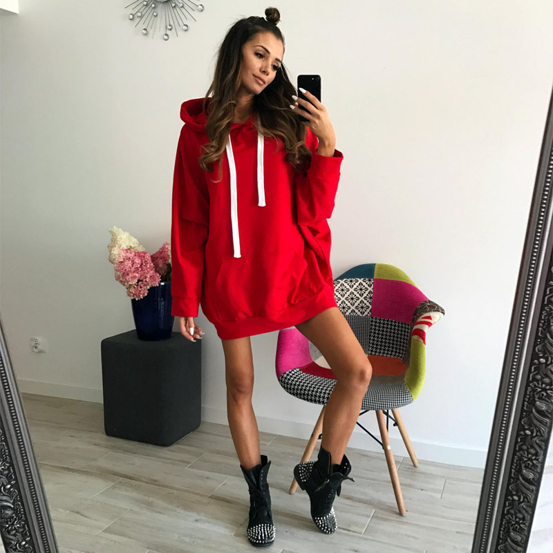 Autumn Winter Oversized Pullover Hoodies Dress For Women Harajuku Hooded Loose Long Sweatshirt Female Casual Sweat Coat DG225