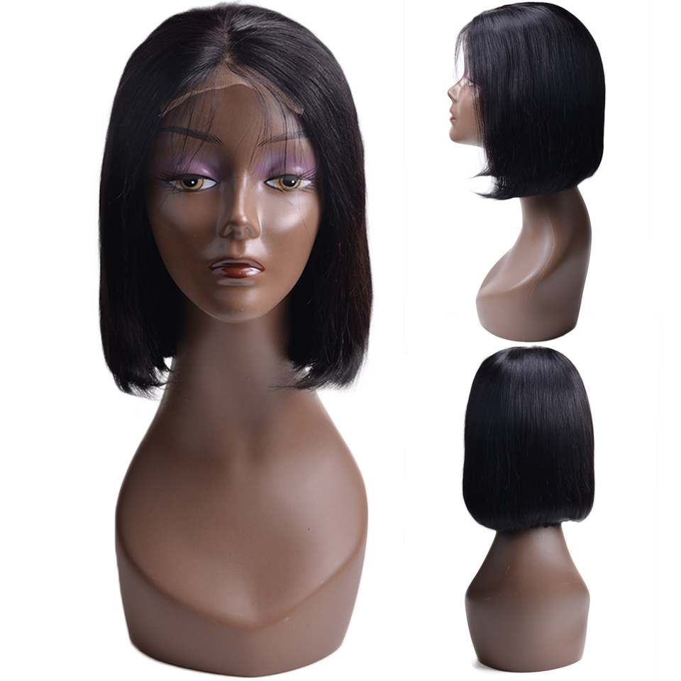 Short Lace Front Human Hair Wigs Full and Thick Bob Wig For Black Women Natural Color
