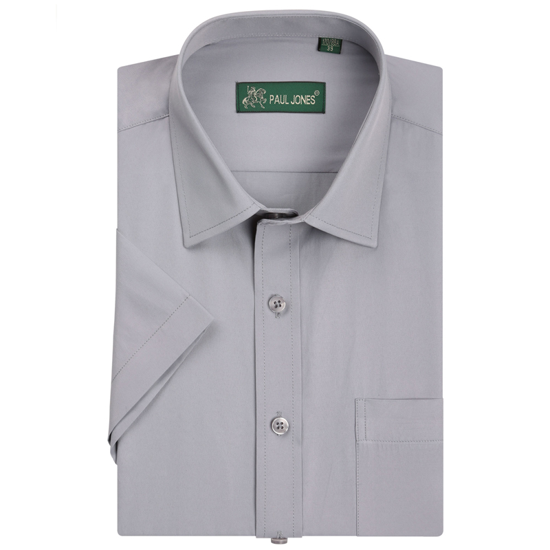 Social Shirt Short-Sleeve Office-Wear Formal-Dress Business Men's Non-Iron Brand Classic-Style