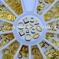 2017 NOVO 6 formas 3d decorações da arte do prego de ouro metall quadro circular roda acessórios suprimentos unhas manicure ferramentas de design