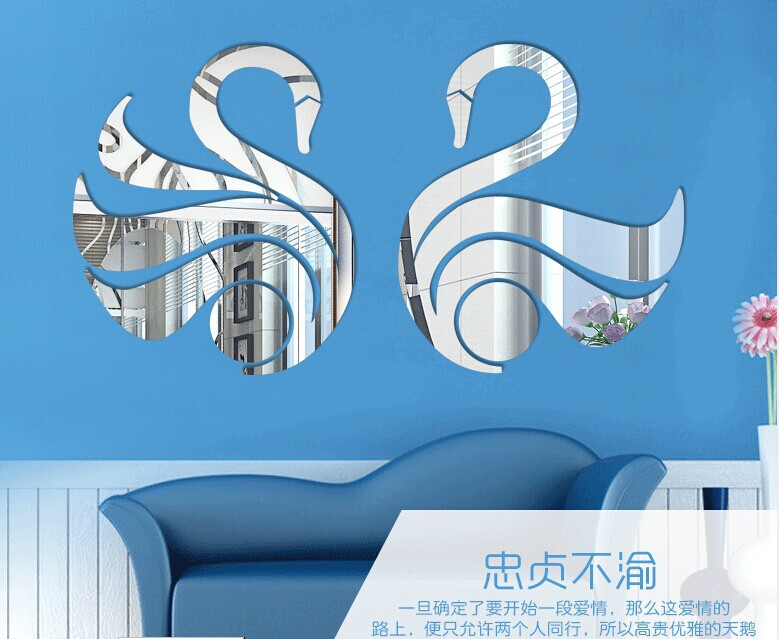 Free shipping LOVE SWAN decoration miror sticker , Sweet Acrylic mirror wall sticker for ...
