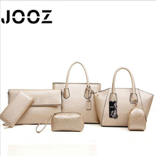 JOOZ Brand Luxury Frame PU Leather Lady Handbag 6 Pcs Composite Bags Set Women Shoulder Crossbody Bags Coin Purse Clutch Wallet