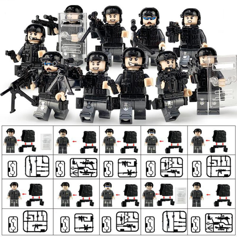10Pcs Police City Dolls Legoings Armed SWAT Building Blocks Toys With A Variety Of Shapes Scenes For Children Kids Toys