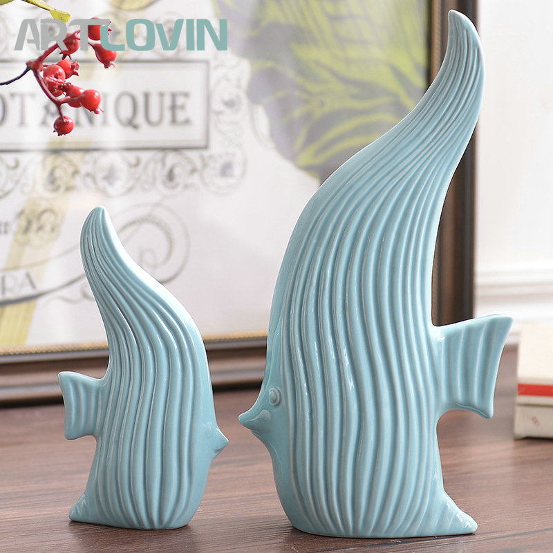 2020 New Year Modern Cyan Ceramic Fish Figurines High Quality Home Decorations Nordic Simple Animal Designs Living Room Decor|Figurines & Miniatures| |  - title=