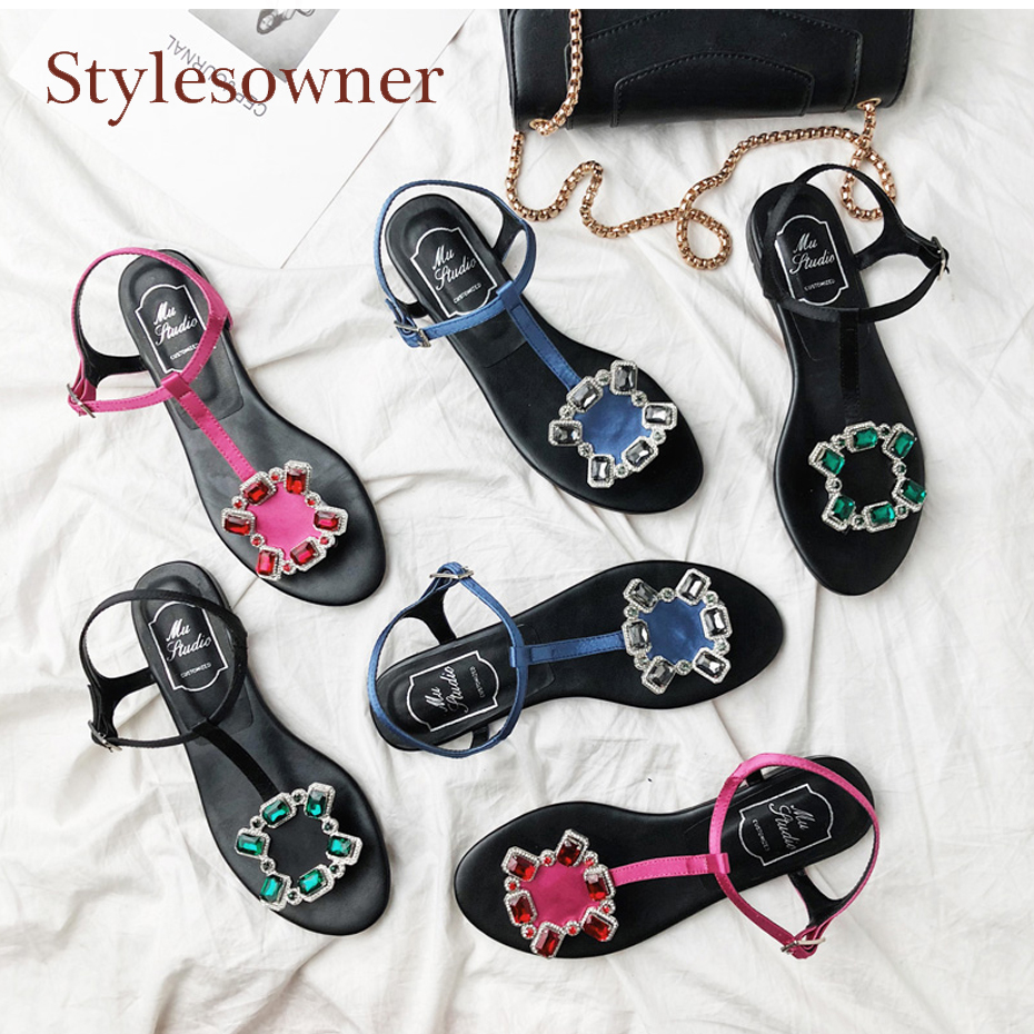 Stylesowener colorful rhinestone buckle flat sandals women summer shoes flop flip fashion casual beach holiday all match shoes fongimic summer women flat shoes comfortable casual all match beach sandals high quality girl beach flowers elastic band sandals