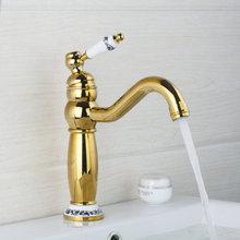 Высокий Кухня/Ванная комната кран полированный Золотой поворотный 360 бортике 97153 Керамика Одной ручкой раковина кран, смеситель