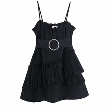 Summer Pleated Sling Dress Black Sexy Women Fashion Belt Sleeveless Slim Female Straight Mini Dresses