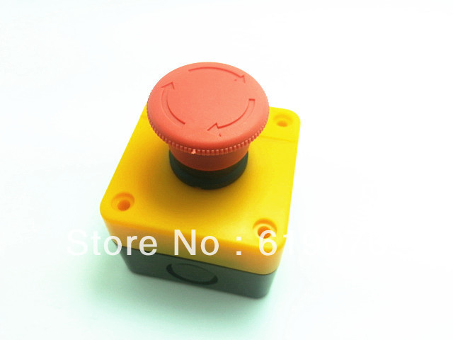 Red Sign Emergency Stop Mushroom Push Button Switch NO+NC AC660V/10A