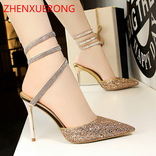 European and American Style Sexy Nightclub Shoes With High-heeled Shallow  Mouth Pointed Sparkle Sequins Feet With Women Sandals ff40cbfe5314