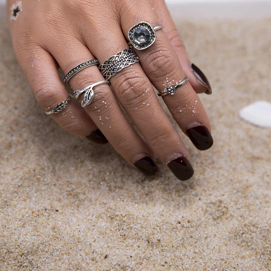 วินเทจสีเงินสีทองหินแหวนชุดสำหรับผู้หญิง/ผู้ชายลูกปัดแหวนนิ้วโบฮีเมียนconjuntos MidiแหวนSteampunk