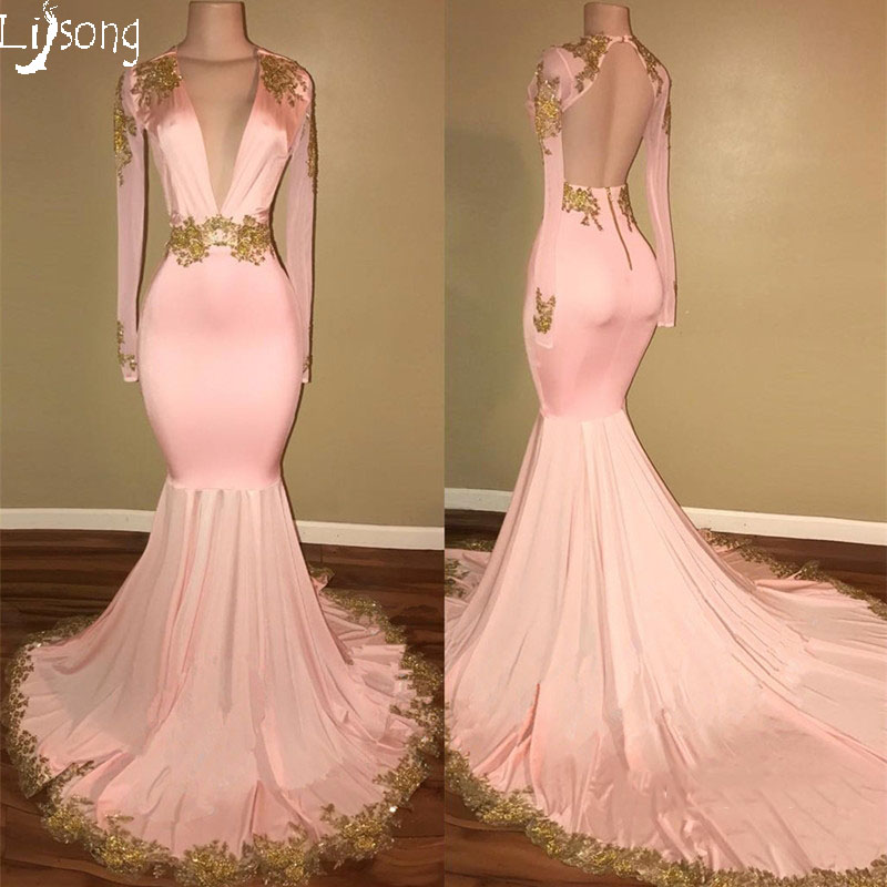 Gold Appliques Sexy Blush Pink Mermaid Buxom Women Prom -9724
