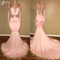 Gold Appliques Sexy Blush pink Mermaid Buxom Women Prom Dress Custom made Back Hollow Fashion Black Girl Homecoming Maxi Gown