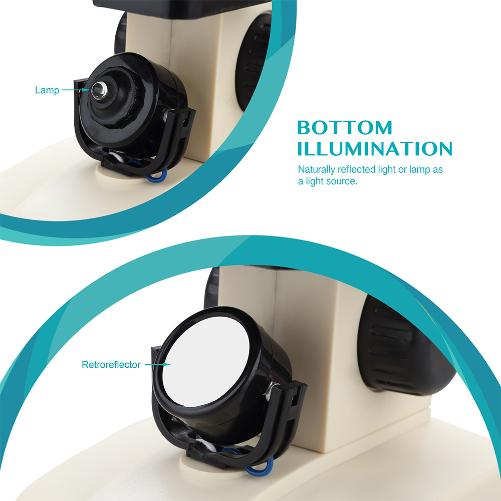 AOMEKIE monokulinis biologinis mikroskopas 70X-400X apatinių lempų - Matavimo prietaisai - Nuotrauka 4