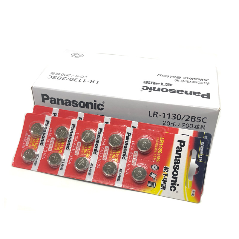 80pcs/lot Panasonic <font><b>1.5V</b></font> <font><b>AG10</b></font> LR1130 Alkaline <font><b>AG10</b></font> 389 LR54 SR54 SR1130W 189 LR1130 Button Coin Cell <font><b>Battery</b></font> <font><b>Batteries</b></font> LR 1130 image
