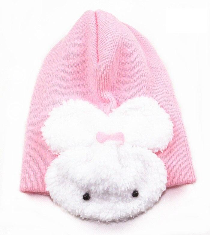 1 шт., 5 цветов, хлопковая шапка с рисунком кролика, детские шапки, детская шапка - Цвет: light pink
