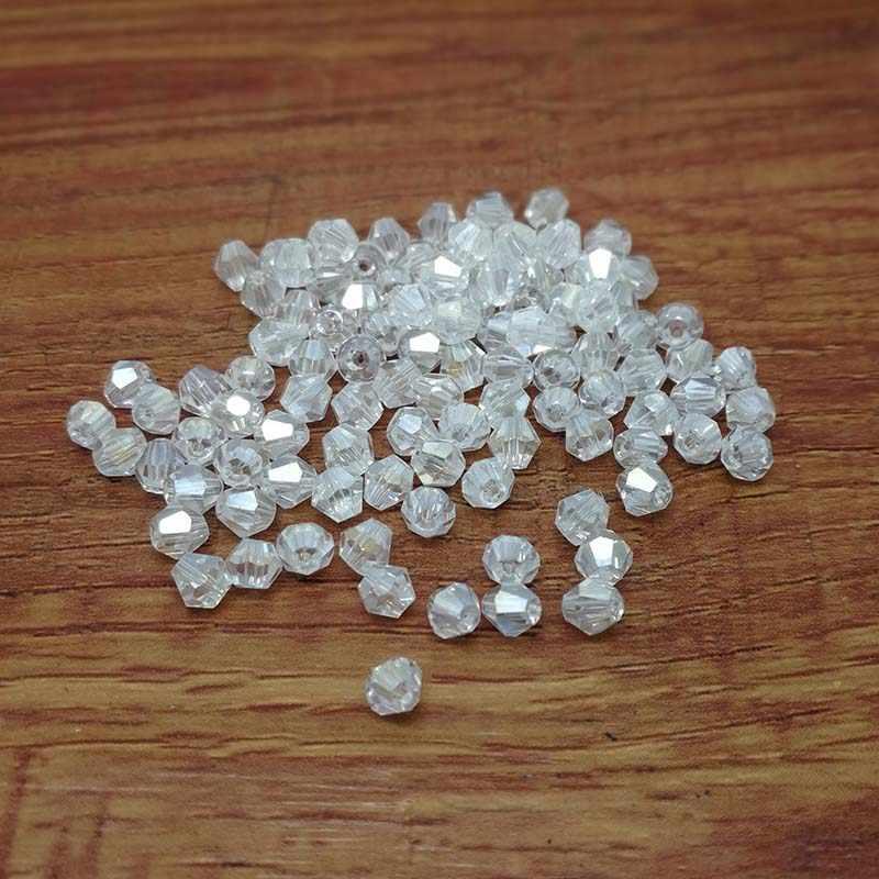 100 sztuk 4mm szkło kryształy koraliki Bicone Faceted koralik luźne koraliki modułowe wyczyść AB DIY ocena biżuteria bransoletka Making