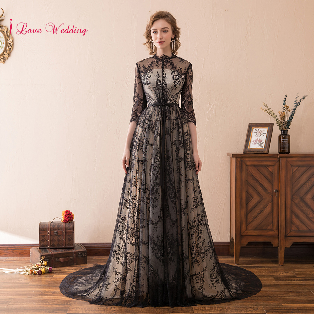 2018 New Arrival Black Lace Evening Dress With Sleeve O Neckline Lace Applique Woman Party Evening Gown Three Quarter Long Dress
