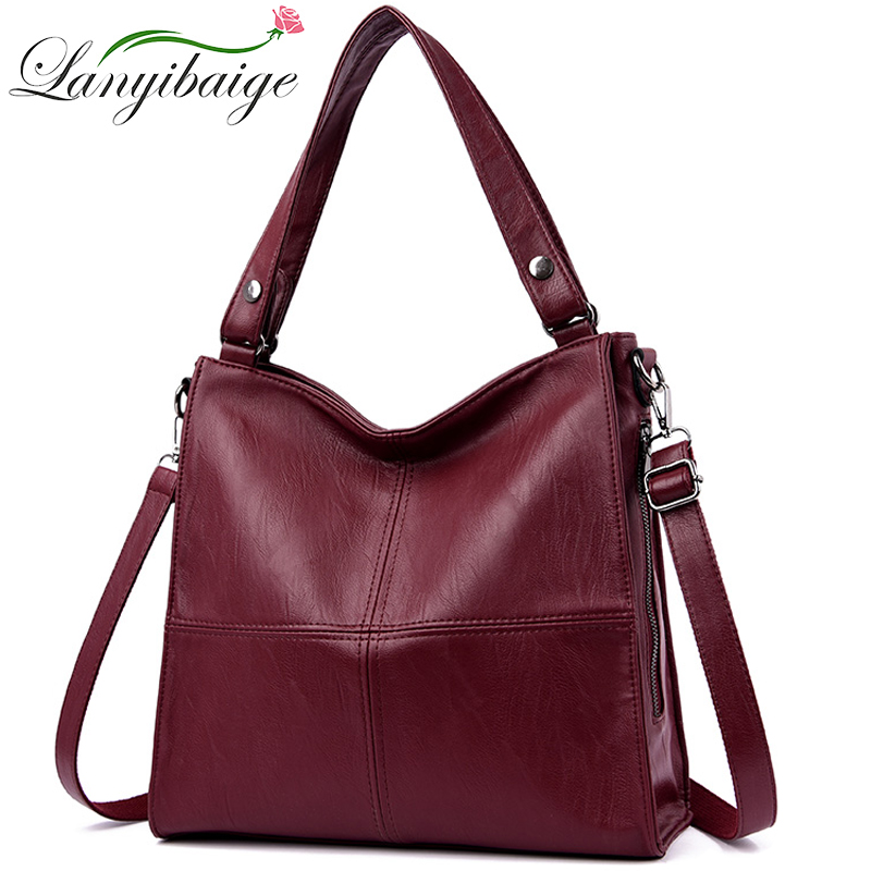 Luxury Handbags Women Bags Designer Female Soft PU Leather Shoulder Bag Vintage Ladies Hand Bags Casual Tote Bag Sac A Main 2019