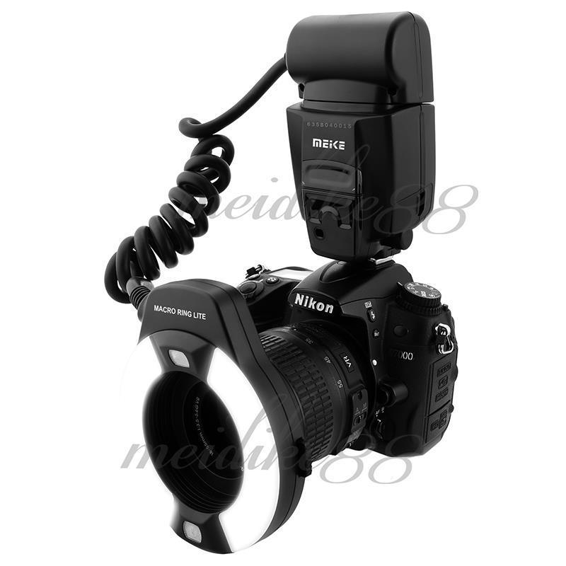 Meike MK-14EXT LED TTL Macro Ring Flash Lite AF I-TTL Assist Lamp For Nikon DSLR Camera Free Shipping skyblue mk 14ext 2 0 lcd 9w 5500k 5500lm led profession ttl macro ring flash light for nikon dslr