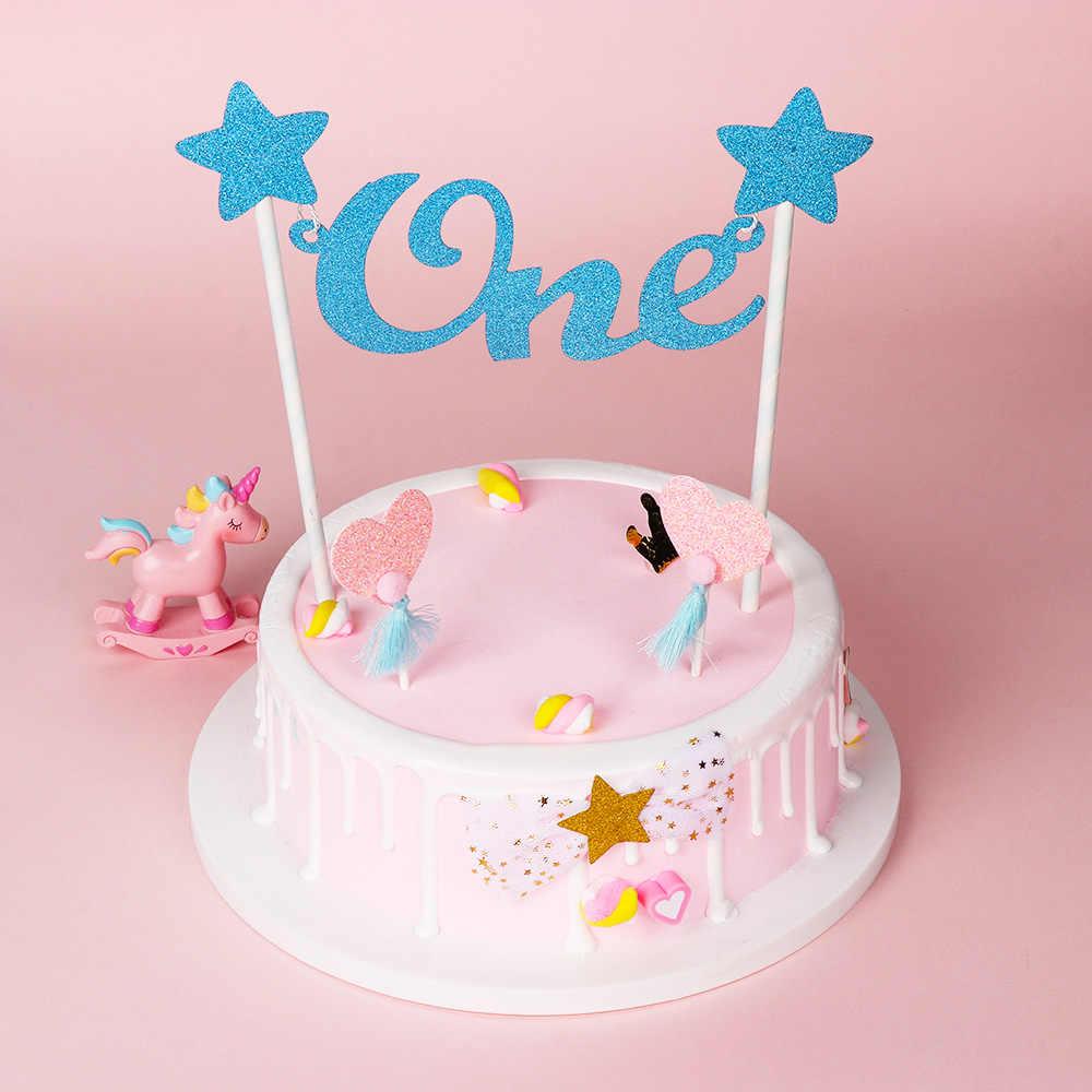 Surprising Baby 1St Happy Birthday Cake Topper Letter One Glitter Star Cake Personalised Birthday Cards Sponlily Jamesorg