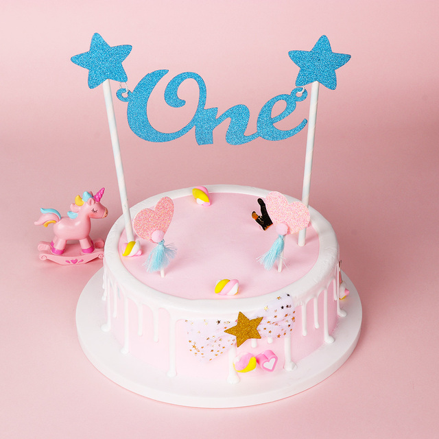 Baby 1st Happy Birthday Cake Topper Letter One Glitter Star Toppers Straws Bunting Banner Party