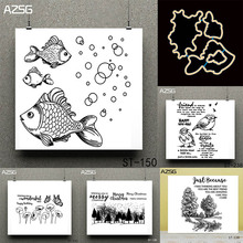 AZSG Goldfish Merry Christmas Transparent Clear Stamp for DIY Scrapbooking/photo Album Decorative Sheets 14*14cm