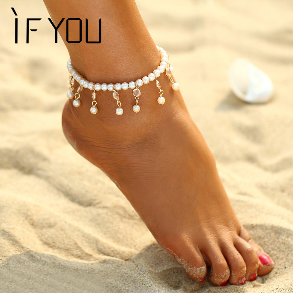 IF YOU Elegant Bohemian Sandals Enkelbandje Imitation Pearl Beads Foot Jewelry Beach Ankle Bracelet Anklets Jewelry for Women