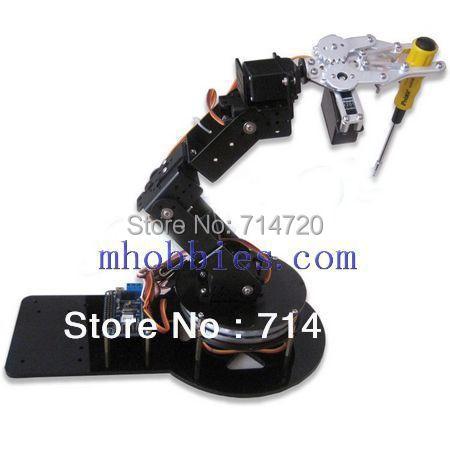 Bras de robot as-6 kit de montage de griffe de serrage en aluminium avec servos et contrôleur de 32 servos de route