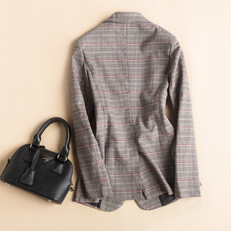 2019 Vintage Women's Jacket Blazer Single Button Long Sleeve Plaid Office Blazer Women Spring Houndstooth Suit Coat Plus Size