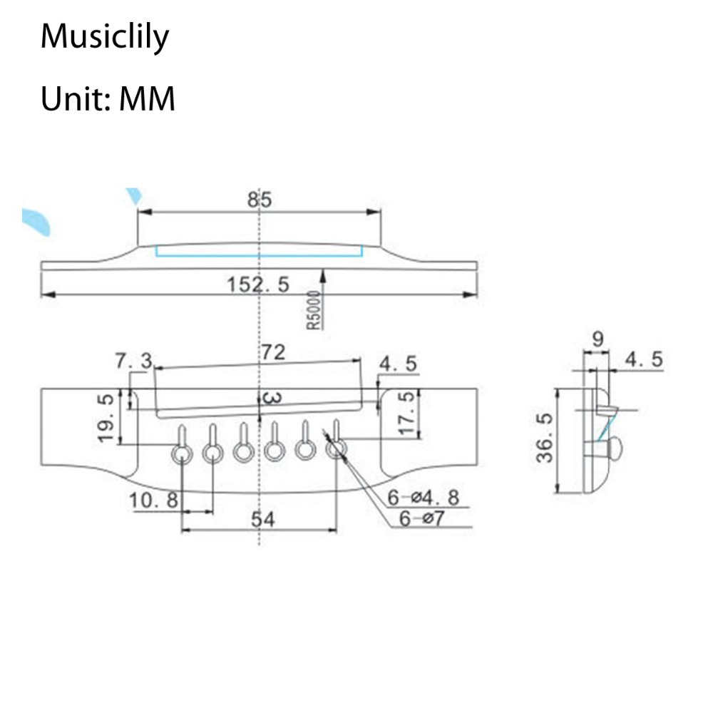Musiclily 1pc 5pcs 6 String Rosewood Saddle Thru Guitar Bridge For Parts Of Acoustic Diagram Martin Style Accessories In From Sports