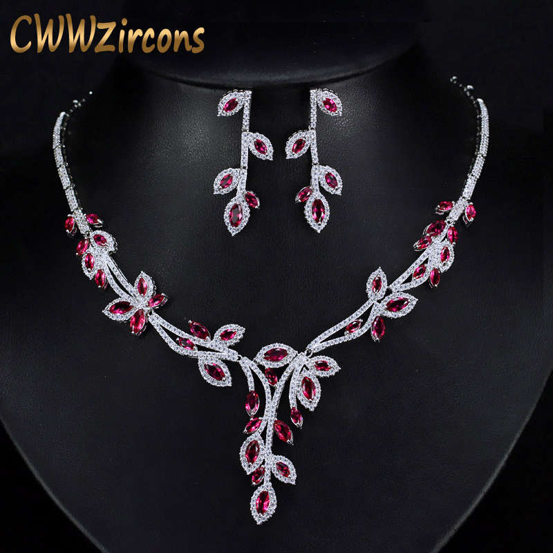 CWWZircons Luxury Dangling Drop Rose Red Cubic Zirconia Party Jewery Nigerian African Big Wedding Necklace Sets For Brides T245CWWZircons Luxury Dangling Drop Rose Red Cubic Zirconia Party Jewery Nigerian African Big Wedding Necklace Sets For Brides T245