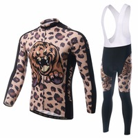 XINTOWN Brown Leopard Men Women Cycling Clothes Gel Padded Bib Pants Spring Autumn Long Sleeve Bike