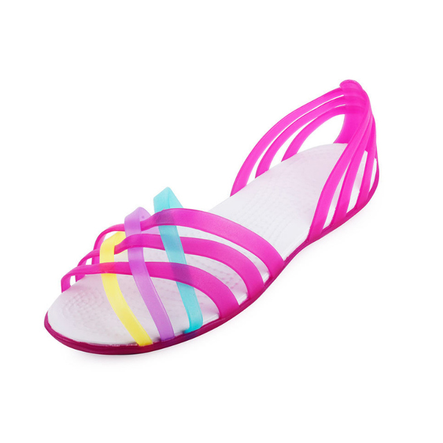 2018 Summer Women Sandals Candy Colors Women Shoes Toe Beach Valentine jelly  sandals Simple iridescent plastic Flats sandals 4ace71ddbb56
