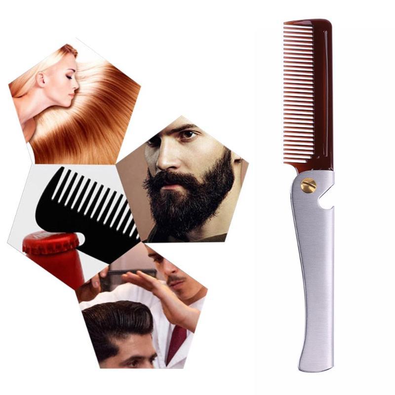 1pc Stainless Steel Beard Comb Metal Plastic Folding Bottle Opener Wide Teeth Comb for Men Hair Beard Trim Tools hair brush 3