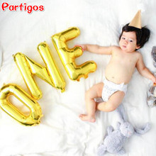 "3pcs 16inch Gold/Silver alphabet Letter ""ONE"" Balloon Foil Ballon Baby Shower 1st Birthday Party Decoration Celebration Supplies"
