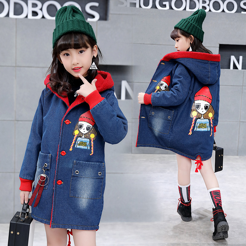 Girls Denim Coat Autumn Winter New 2018 Lamb Down Plus Cotton Girl Children Casual Windbreaker Coat Korean Thickened Coats CA087 все цены