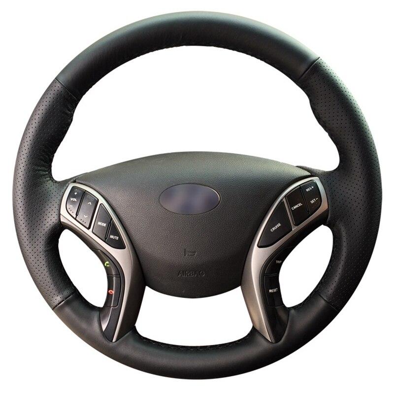GNUPME черный искусственная кожа рук-прошитой рулевого колеса автомобиля чехол для hyundai Elantra 2011-2016 Avante i30 2012 -2016