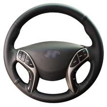 GNUPME – housse de volant de voiture en cuir artificiel, noir, cousu à la main, pour Hyundai Elantra 2011 – 2016 Avante i30 2012 – 2016