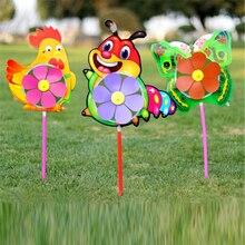 Plastic Wind Spinner Windmill Cute Cartoon Animals Kids Outdoor Toys