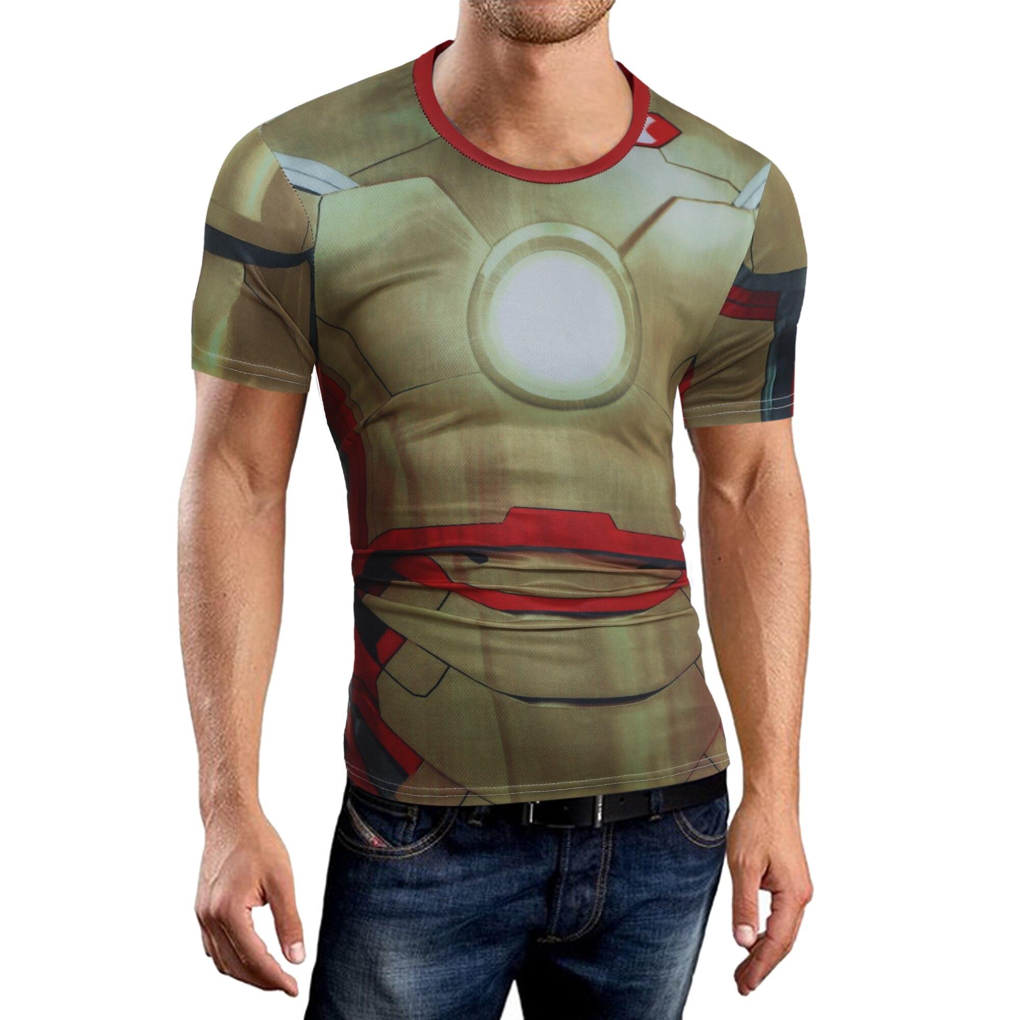 Men T-shirt 2018 Brand Short Sleeve Iron Man Prints T Shirt O-Neck Slim Men T-Shirt Tops Fashion Mens Tee Shirt T Shirts XXL QWR