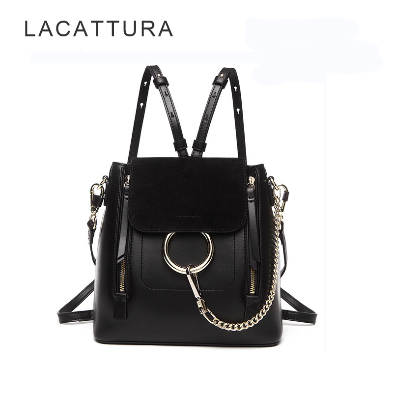 LACATTURA Famous Paris Brand Design Women Backpack High Quality Genuine Cow Leather Casual Shoulder Bag Bolsa Feminina Rugzak