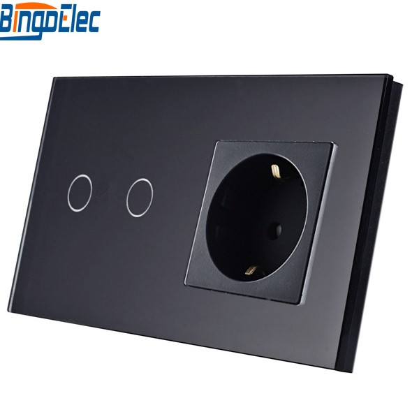 Electrical Equipment & Supplies EU Standard Black Glass 2gang 1way/2way Remote/Dimmer/Touch Wall Switch and Germany Wall Socket touch switch eu standard dimmer