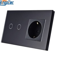 Electrical Equipment Supplies EU Standard Black Glass 2gang 1way 2way Remote Dimmer Touch Wall Switch And