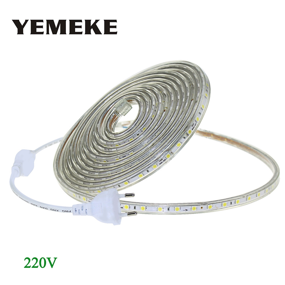 AC 220V LED Strip Light SMD 5050 60leds / m IP67 Vattentät LED Flexibel Tape 1M / 2M / 3M / 4M / 5M / 6M / 7M / 8M / 9M / 10M / 15M / 20 + Strömkontakt