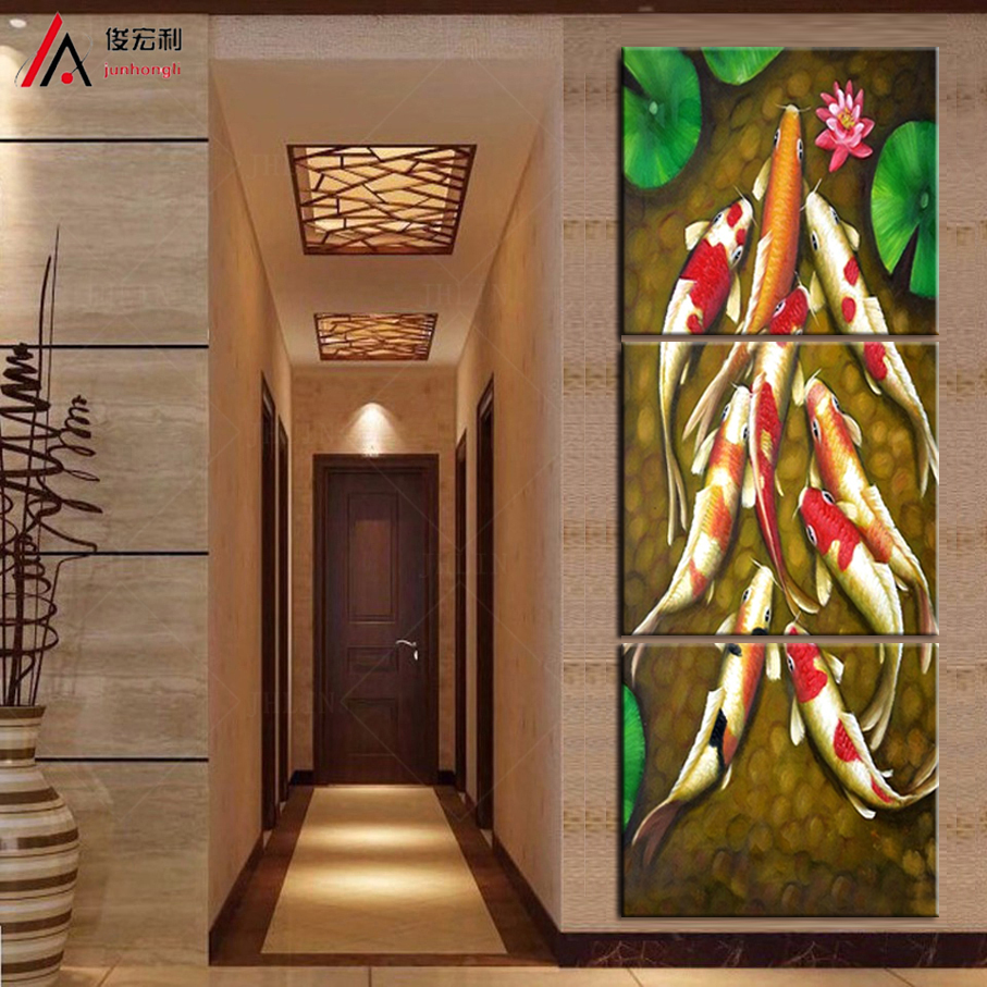 Vertical Forms Canvas Art Koi Fish Lotus Goldand Chinese Oil Painting Feng Shui Wall Pictures For