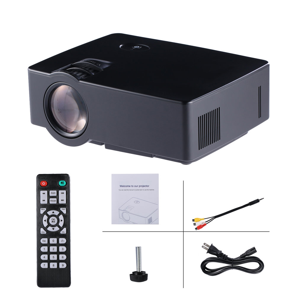 Black LCD Mini 1080P HD Home Theater Projetor 1500 lumens 800*480 Regular Mltifunction Japonês Compatível Interface